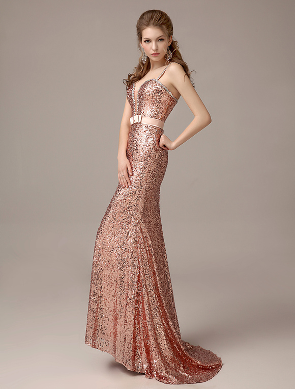 761181c2d2 Rose Gold Prom Dresses 2019 Long Nude Mermaid Evening Dress Sequined ...