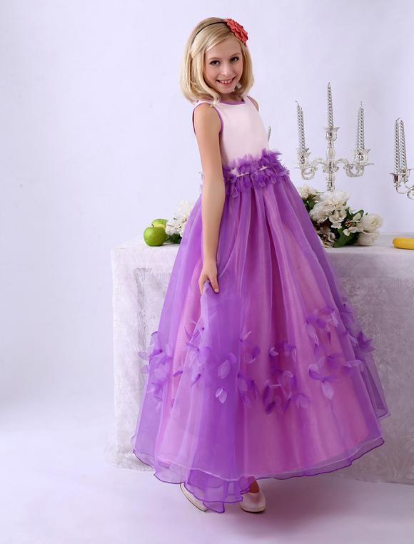 big sale 9fa2a 87d30 Vestito da damigella per bambina in organza a fiori alla caviglia Milanoo