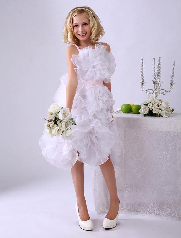 7149321ca841 Vestito da damigella per bambina bianco in organza con cintura al ginocchio  Milanoo-No.