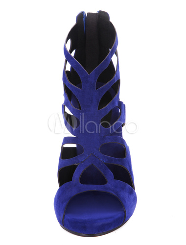 ... Fabuleuses sandales mode bleu foncées en peau de mouton suédé creusé-No.3  ...