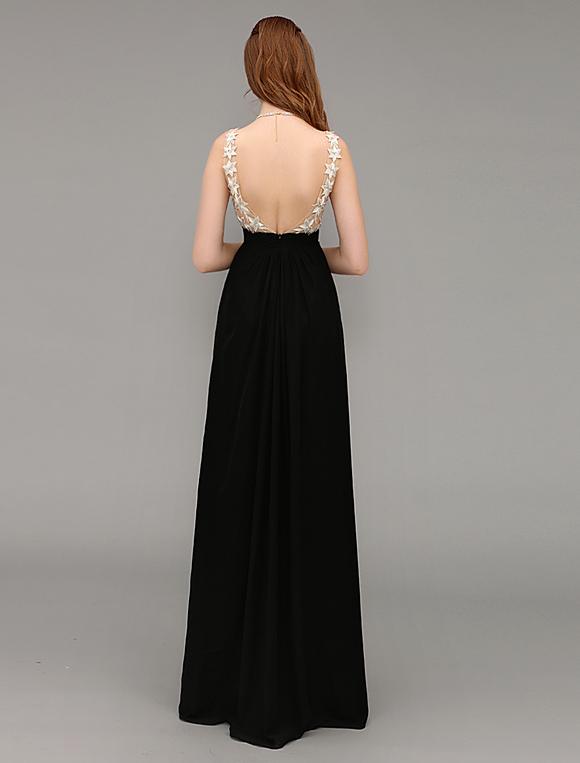 Abendkleid mit v ausschnitt in schwarz - Milanoo abendkleider ...