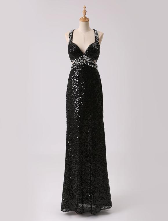 Abendkleid mit pailletten in schwarz for Milanoo abendkleider
