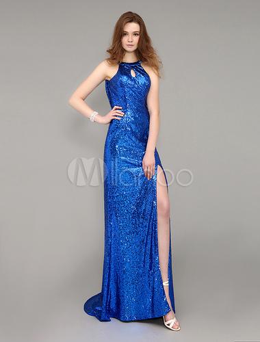235e62ee4645 ... Cappuccio blu Royal indietro con paillettes abito da sera lungo con  treno -No.2 ...