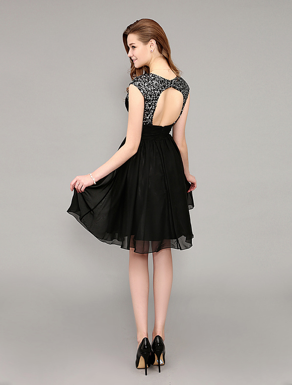 Milanoo / Short Sequined Black Cocktail Dress With Open Back