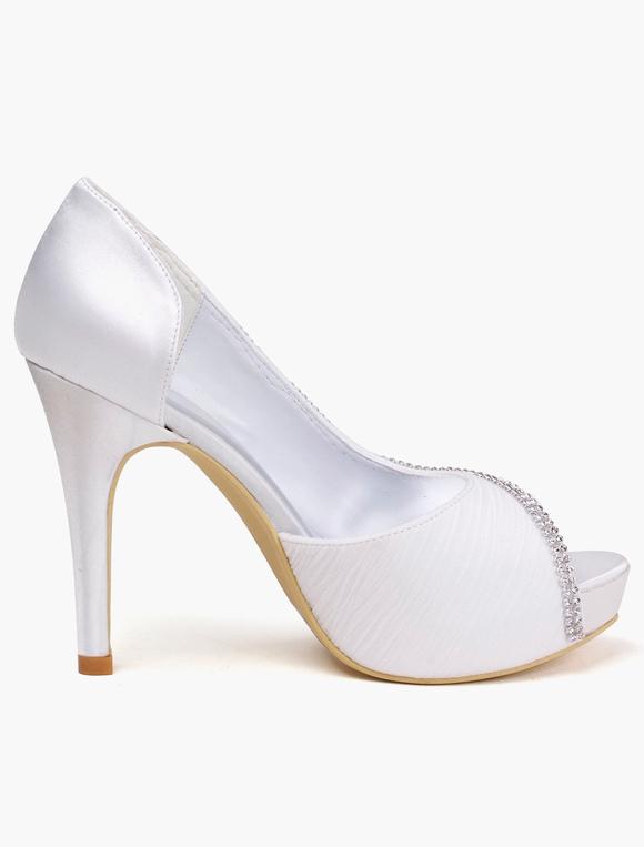 ... Sandales de mariage en soie et satin blanc avec strass -No.6 ...