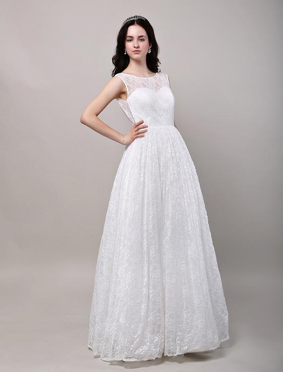 Deep V Open Back Floor Length Lace Wedding Dress No2