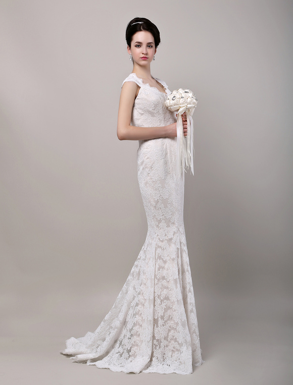 Mermaid Sweetheart Chapel Train Open Back Lace Wedding Dress No 4