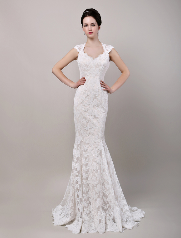 b4f167f28a8bb ... Mermaid Sweetheart Chapel Train Open Back Lace Wedding Dress-No.2 ...