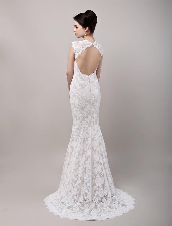Mermaid Sweetheart Chapel Train Open Back Lace Wedding Dress ...