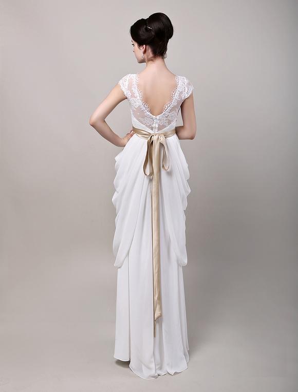 V open back bow sleeve lace bodice chiffon wedding dress for Open back bow wedding dress