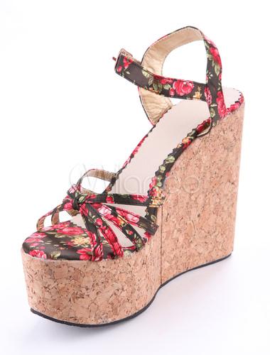 Sandales à talons compensés bohémiennes en tissu imprimé fleur-No.1 ...