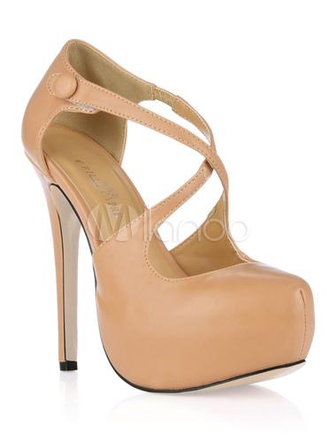 ... Chaussures à talons aigus beige en PU croisé avant-No.4 ...