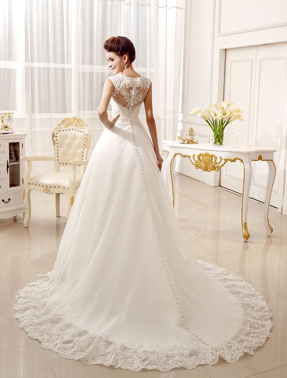 Wedding Dresses Lace Applique Bridal Dress Bow Sash Sweetheart Illusion Train Gown No