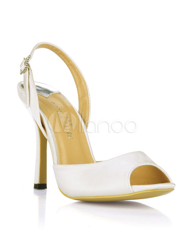 ... Sandales à talons aigus blanches peep toe en fausse soie-No.4 ...