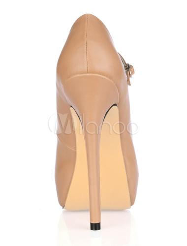 Zapatos Peep toe de PU de color desnudo con hebilla CpYHf8