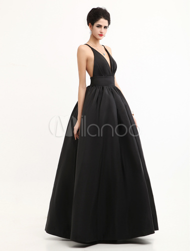 Black Oscar Evening Dress Straps Backless Deep-V Taffeta Dress ...