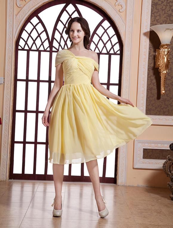 Milanoo / Paris Hilton Fashion Daffodil Satin Chiffon Celebrity Dress