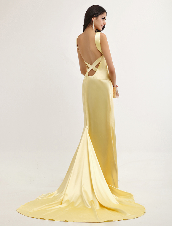 Satin V-Neck Spaghetti Backless Oscar Dress With Train ...