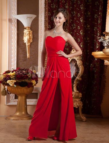 Trendy Red Chiffon Sweetheart Strapless Gossip Girl Fashion Dress ...