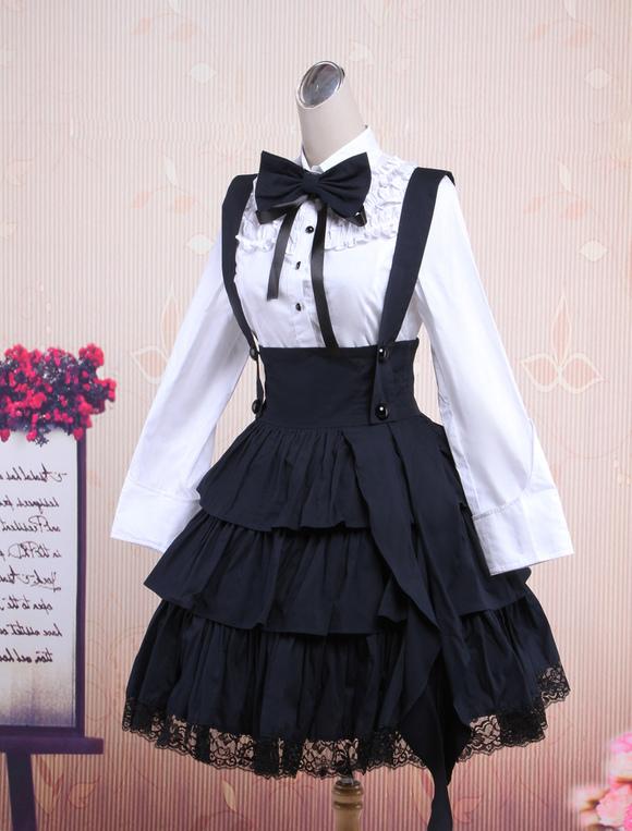 Cotton White Long Sleeves Blouse And Black Ruffles Lolita