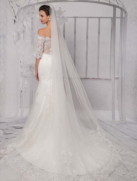 9af1b822e2863 ... Half Sleeve Off the Shoulder Lace Wedding Dress in Trumpet Style  Milanoo-No.9. 12