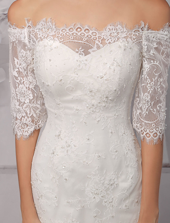 6e119277a ... Half Sleeve Off the Shoulder Lace Wedding Dress in Trumpet Style Milanoo-No.8  ...