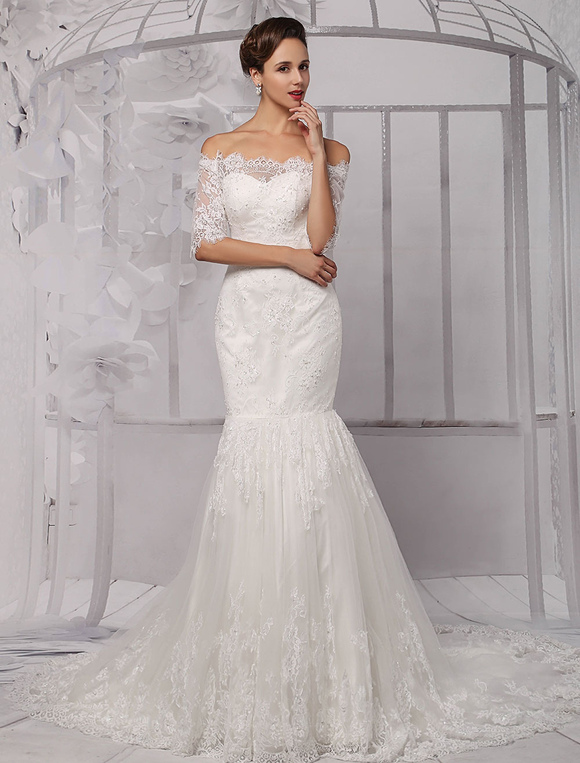 9c384fb32874a ... Half Sleeve Off the Shoulder Lace Wedding Dress in Trumpet Style  Milanoo-No.2 ...