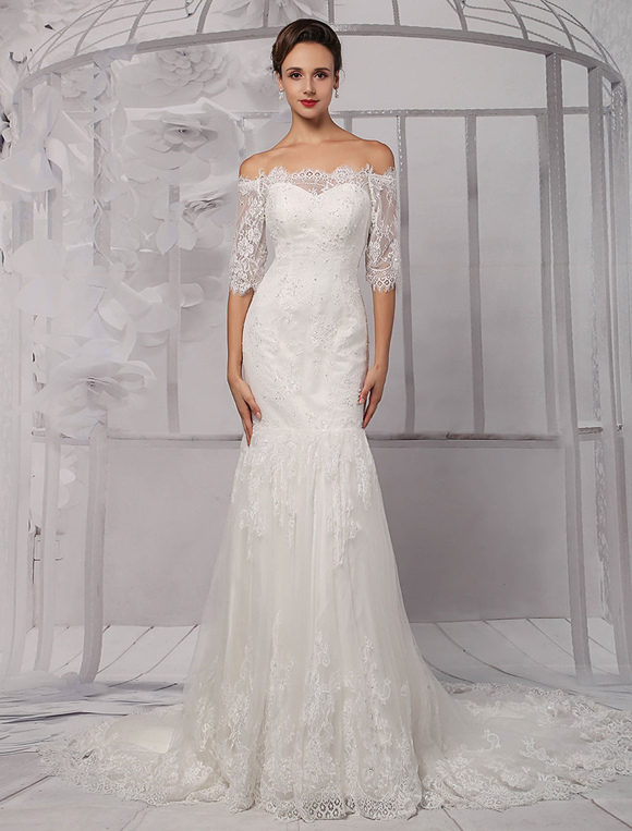 Half Sleeve Off The Shoulder Lace Wedding Dress In Trumpet Style Milanoo Milanoo Com,South Indian Wedding Reception Dress Ideas For Bride