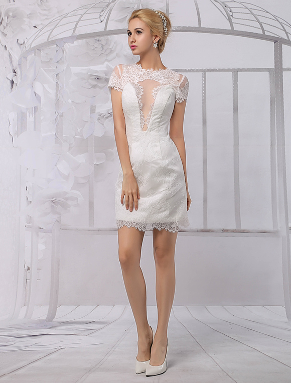 Short lace wedding dress with sleeves