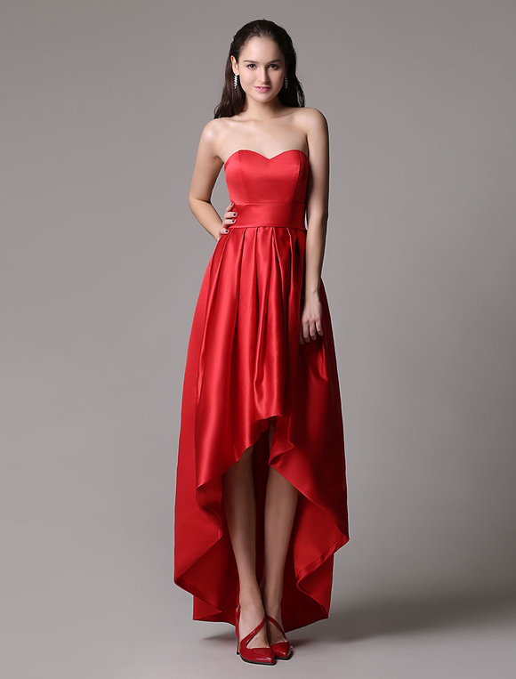 d8532c9996 ... Red Prom Dresses 2019 Short Strapless Backless Cocktail Dress Sweetheart  Satin Ruched High Low Party Dress ...