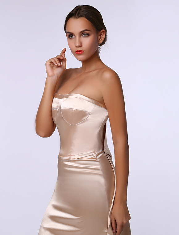 Champagne celebrity dress Elastic Silk Cascading Ruffle ...