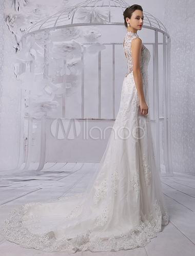 Lace illusion high neck back keyhole sheath column bridal for T back wedding dress