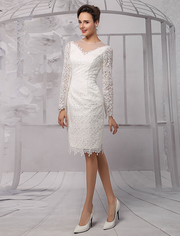 Lace Illusion Neckline Long-Sleeves Knee-length Sheath Wedding Dress     Milanoo