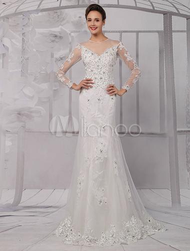 Sheath Wedding Dress with Beading