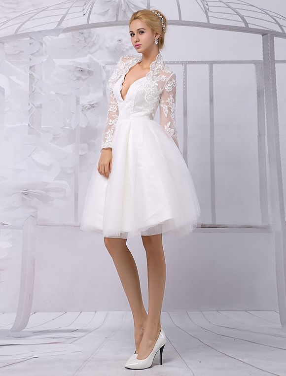 Tulle Knee-Length Spaghtti A-line Wedding Dress With Long-sleeves Lace Wrap Milanoo