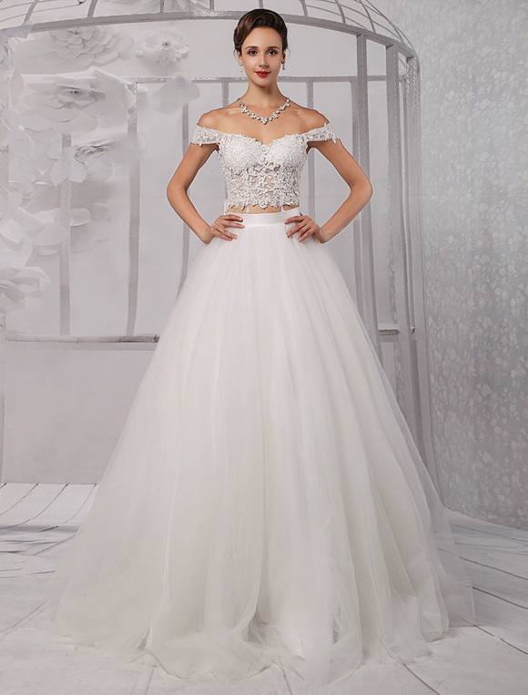 Two pieces crop top off the shoulder ball gown wedding for Wedding dress skirt and top