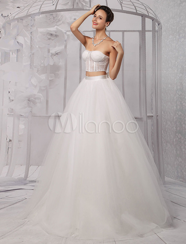Two Pieces Strapless Lace Corset Crop Top Ball Gown Wedding Dress With Tulle Skirt