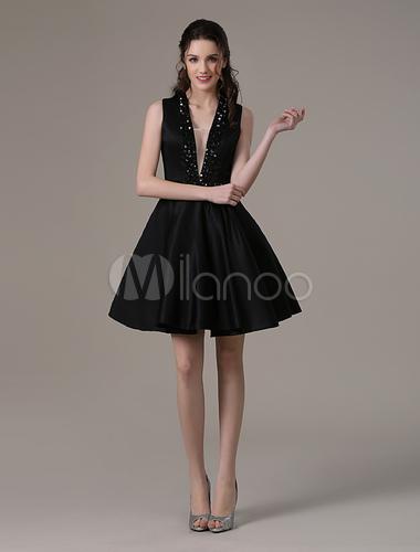 a57d730238e Black Deep V-neck Satin Homecoming Dress with Bold Beads - Milanoo.com