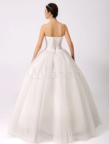 Glitter sweetheart bridal gown with rhinestone detailing for Wedding dress bling detail