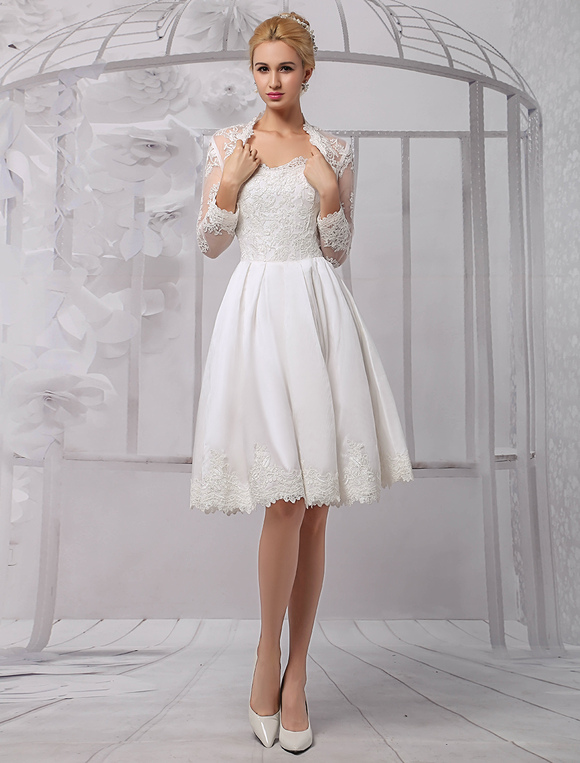 Knee Length Satin And Lace Wedding Dress With Long Sleeve Wrap No 4