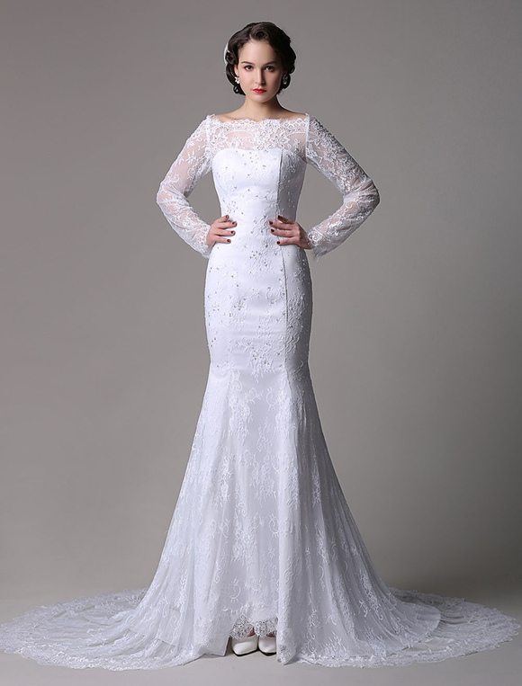 Long Sleeve Lace Trumpet Wedding Dress