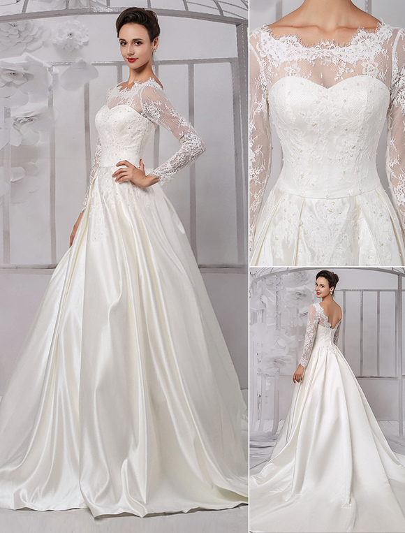 Long Sleeve Lace Wedding Dress Bridal Gown With Cathedral Train ...