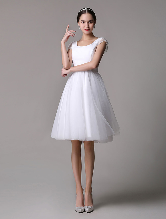 Simple Wedding Dresses Tulle Scoop Neck Knee Length Short Bridal Dress With Lace Cap Sleeves Milanoo Com,Beach Wedding Guest Dresses White