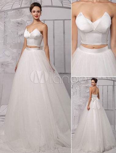 Two pieces crop top ball gown wedding dress with tulle for Wedding dress skirt and top
