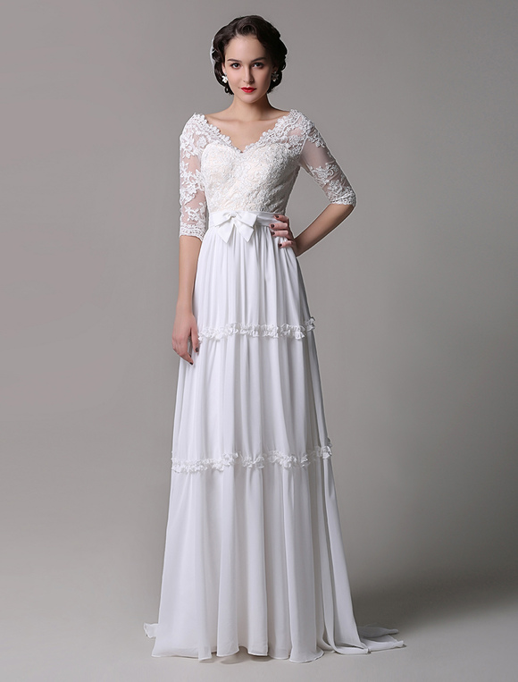 Boho Wedding Dress Vintage A Line Lace Chiffon Half Sleeves V Neck Backless