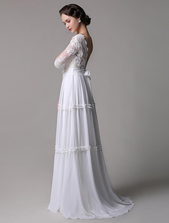 70a8658a860 ... Boho Wedding Dress Vintage A-Line Lace Chiffon Half Sleeves V-neck  Backless Boho ...
