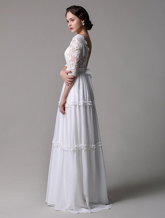 Boho wedding dress vintage a line lace chiffon half for Lace v neck backless wedding dress