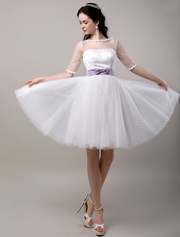 Vintage Inspired Polka Dots Elbow Sleeves Tulle Wedding Dress with ...