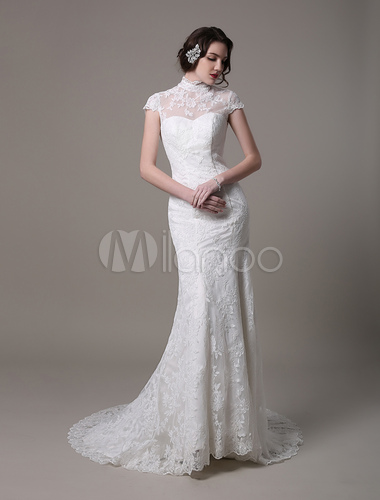 Vintage Lace Wedding Dress With High Neck Cap Sleeves And Keyhole