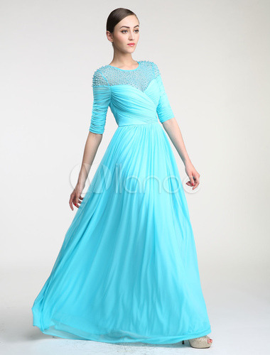 Milanoo / Pearl Beading Illusion Neckline Off the Shoulder Tulle Evening Dress